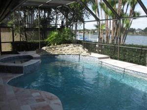 Rock Waterfall & Travertine Pool Deck